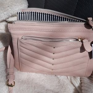 Blush Pink Mini Multi-Zipper Crosssbody Bag